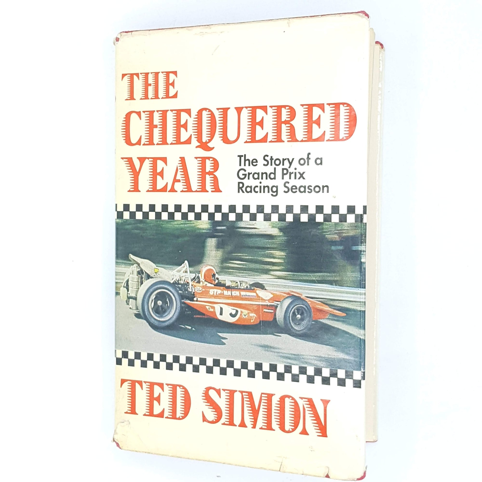 vintage-thrift-old-books-the-chequered-year-antique-sport-white-1970-classic-red-racing-grand-prix-decorative-ted-simon-country-house-library-formula-1-patterned-