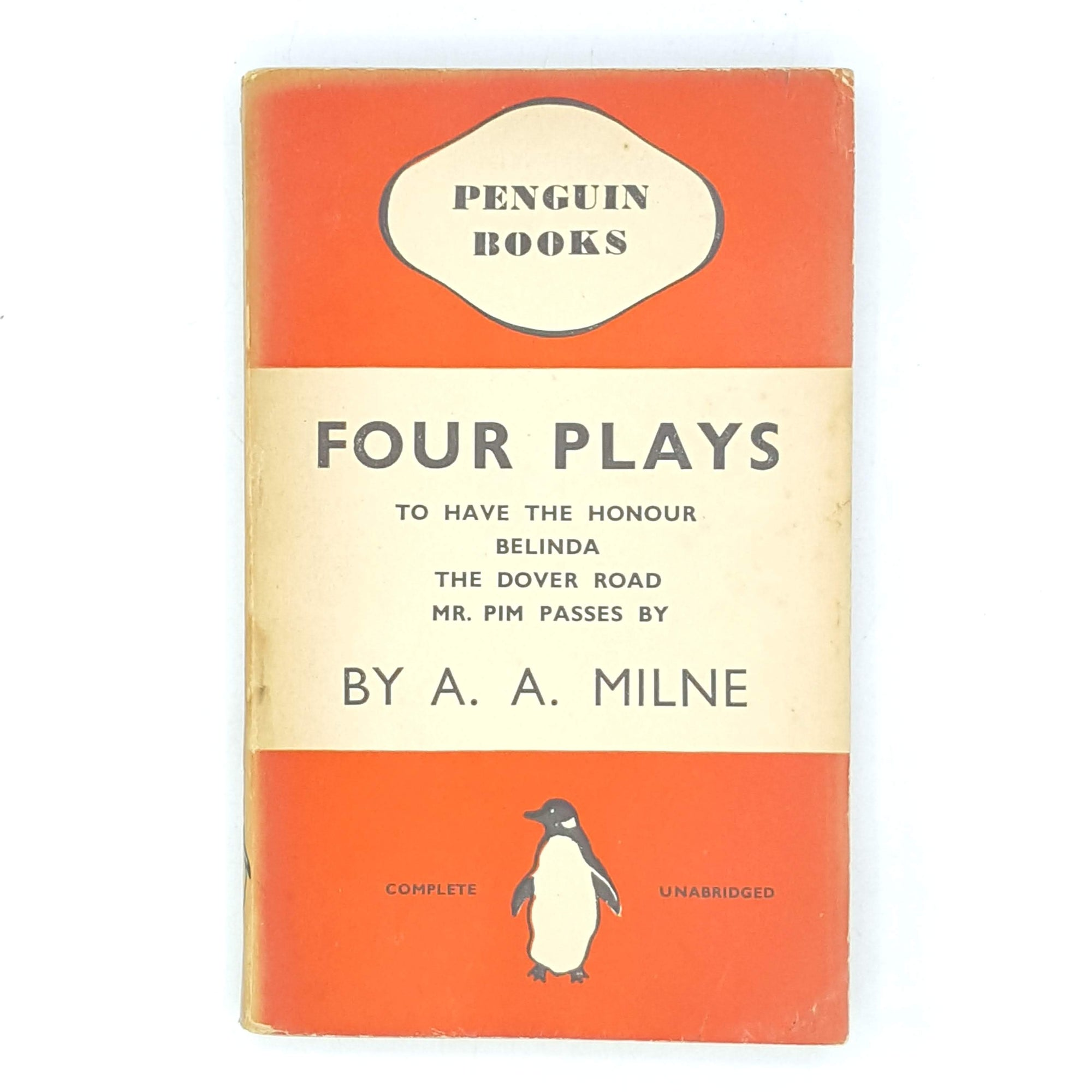 antique-old-books-thrift-vintage-first-edition-aa-milne-classic-decorative-four-plays-penguin-country-house-library-red-patterned-