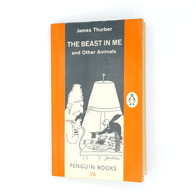 patterned-decorative-thrift-collection-vintage-1961-antique-penguin-james-thurber-country-house-library-classic-the-beast-in-me-short-stories-old-orange-books-