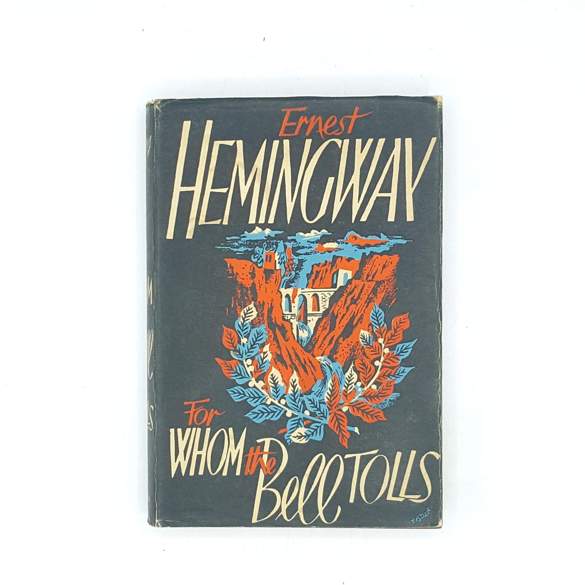 classic-antique-vintage-decorative-country-house-library-for-whom-the-bell-tolls-old-thrift-patterned-jonathan-cape-1954-ernest-hemingway-black-books-