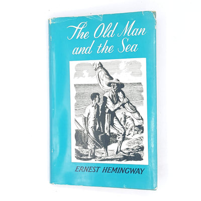 classic-old-antique-decorative-the-old-man-and-the-sea-jonathan-cape-books-patterned-country-house-library-ernest-hemingway-illustrated-thrift-1972-blue-vintage-