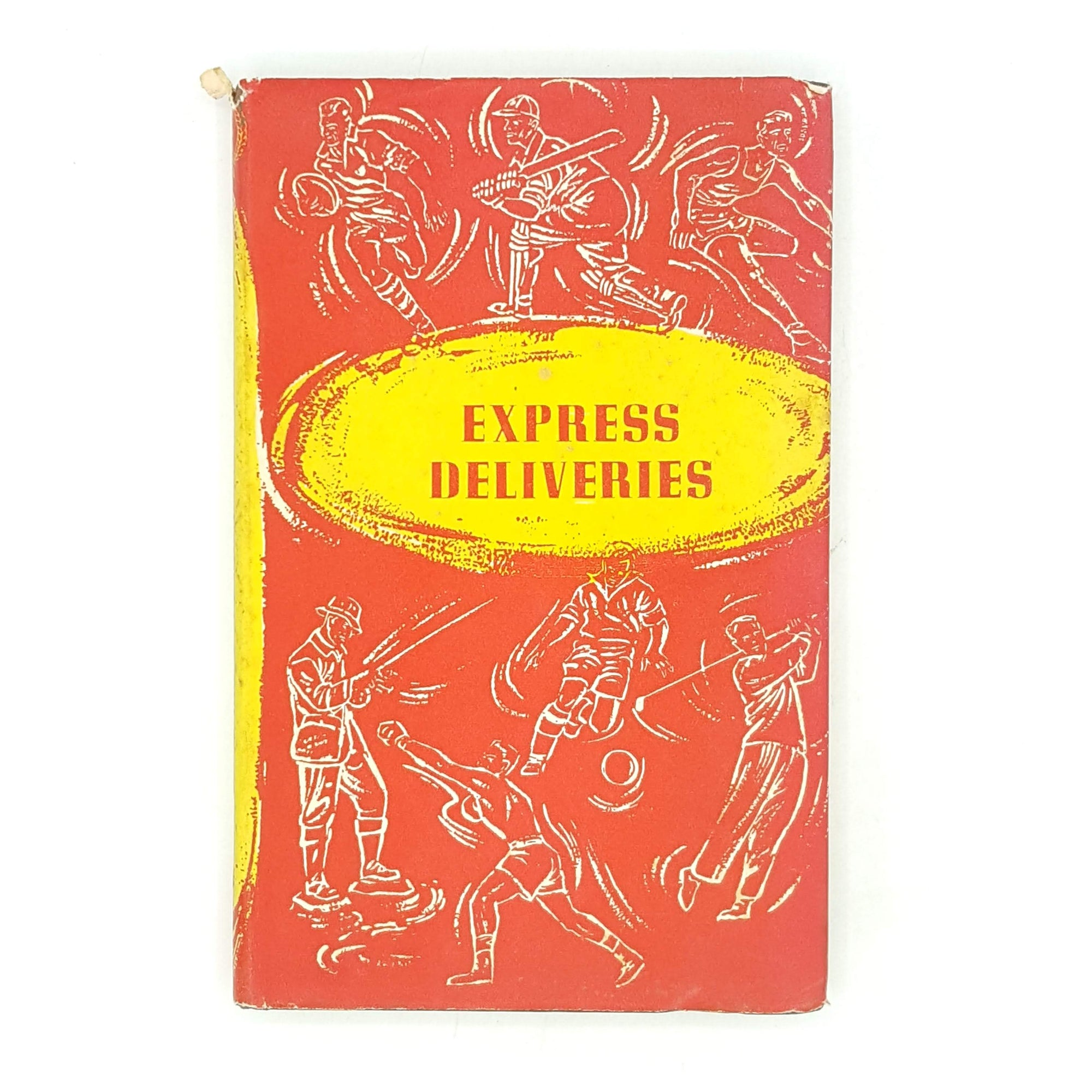 thrift-red-old-bill-bowes-the-sportsman-book-club-decorative-antique-books-express-deliveries-patterned-1958-classic-country-house-library-vintage-