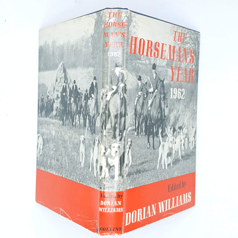 old-collins-patterned-vintage-decorative-antique-red-blue-dorian-williams-country-house-library-books-classic-thrift-1962-the-horseman's-year-