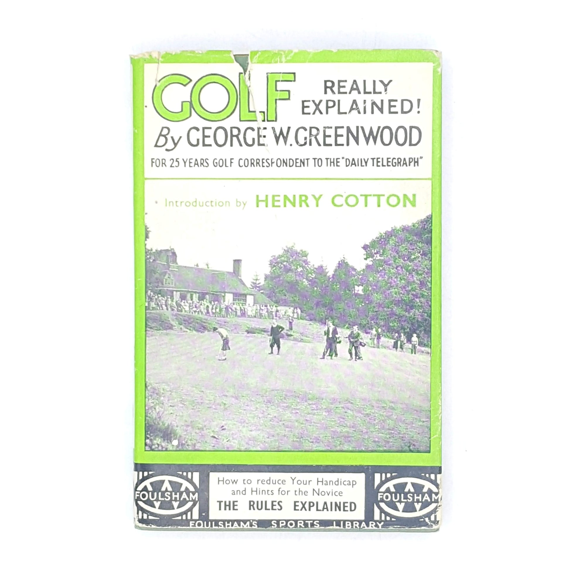 classic-old-decorative-books-patterned-country-house-library-pocket-size-green-antique-golf-really-explained-thrift-foulsham-henry-cotton-george-w-greenwood-vintage-
