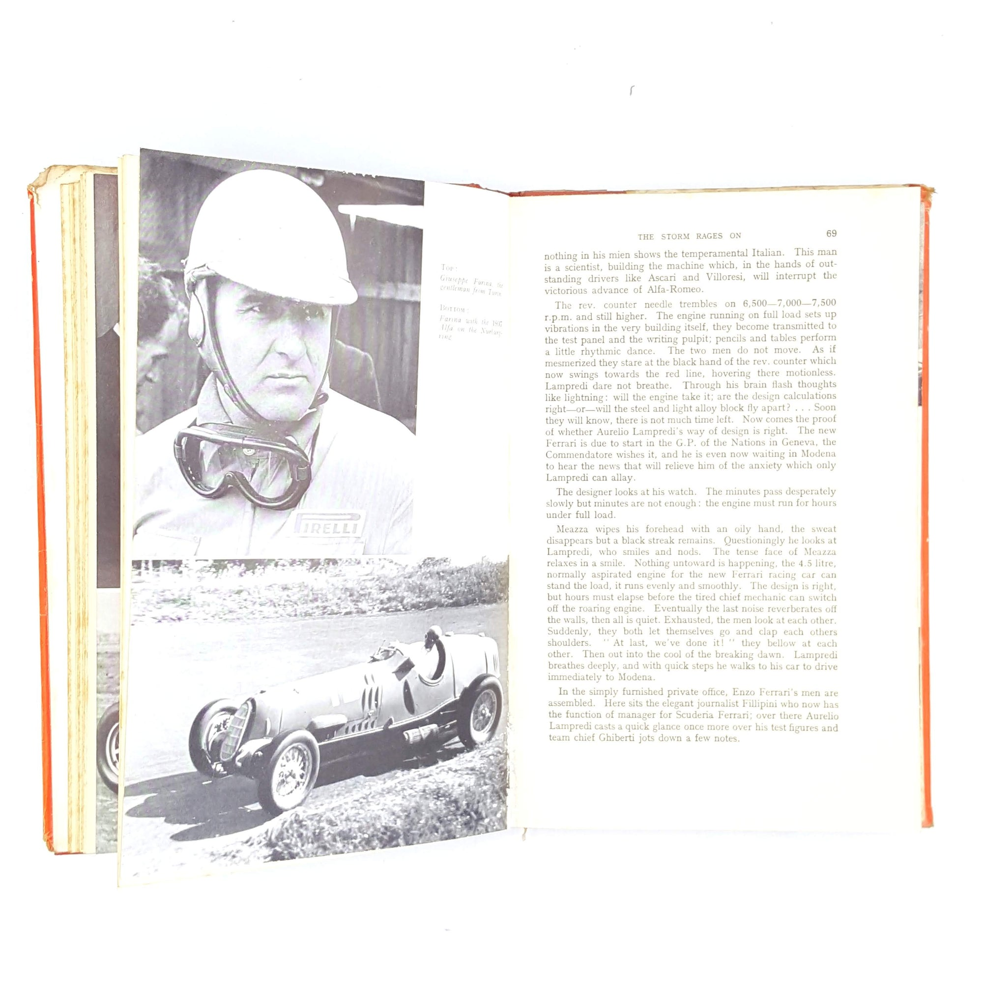 vintage-decorative-old-translated-antique-classic-gunther-molter-books-thrift-patterned-juan-manuel-fangio-racing-country-house-library-1956-red-