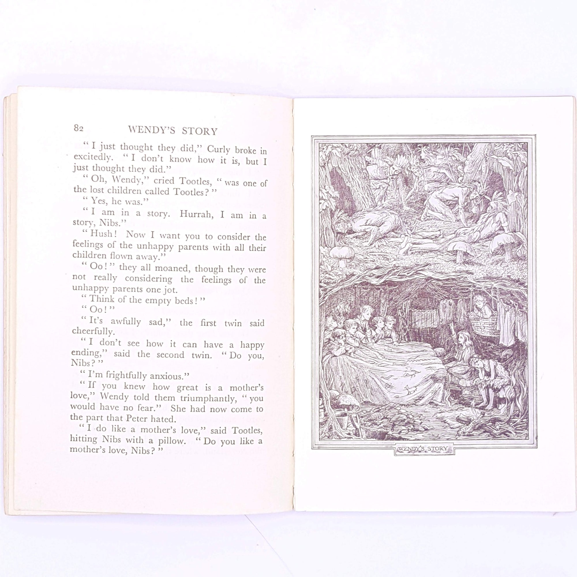 1936-antique-jm-barrie-old-for-kids-patterned-wendy-vintage-christmas-gifts-red-country-house-library-thrift-books-peter-pan-decorative-classic-