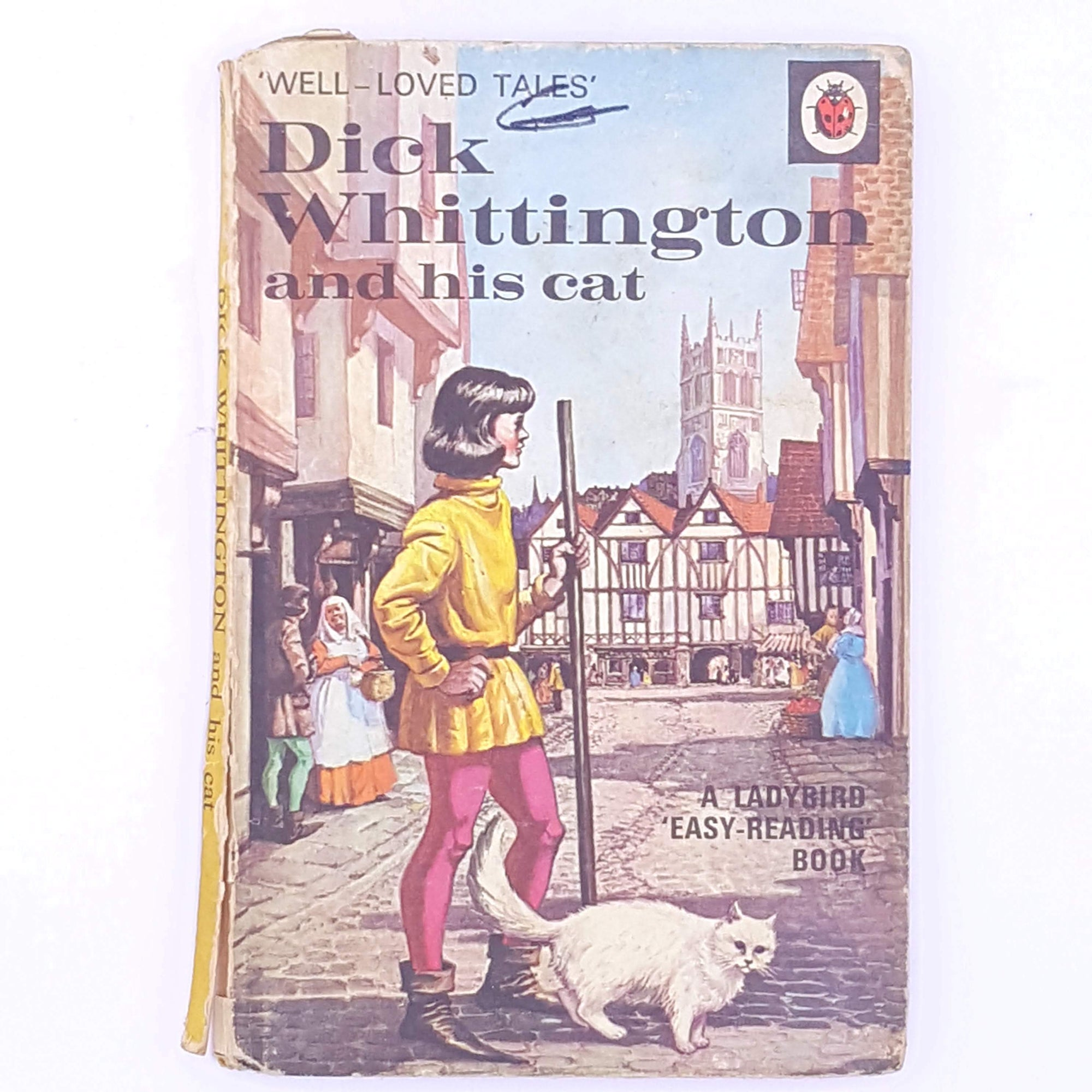 country-house-library-ladybird-patterned-old-classic-books-antique-decorative-vintage-dick-whittington-and-his-cat-thrift-christmas-gifts-for-kids-