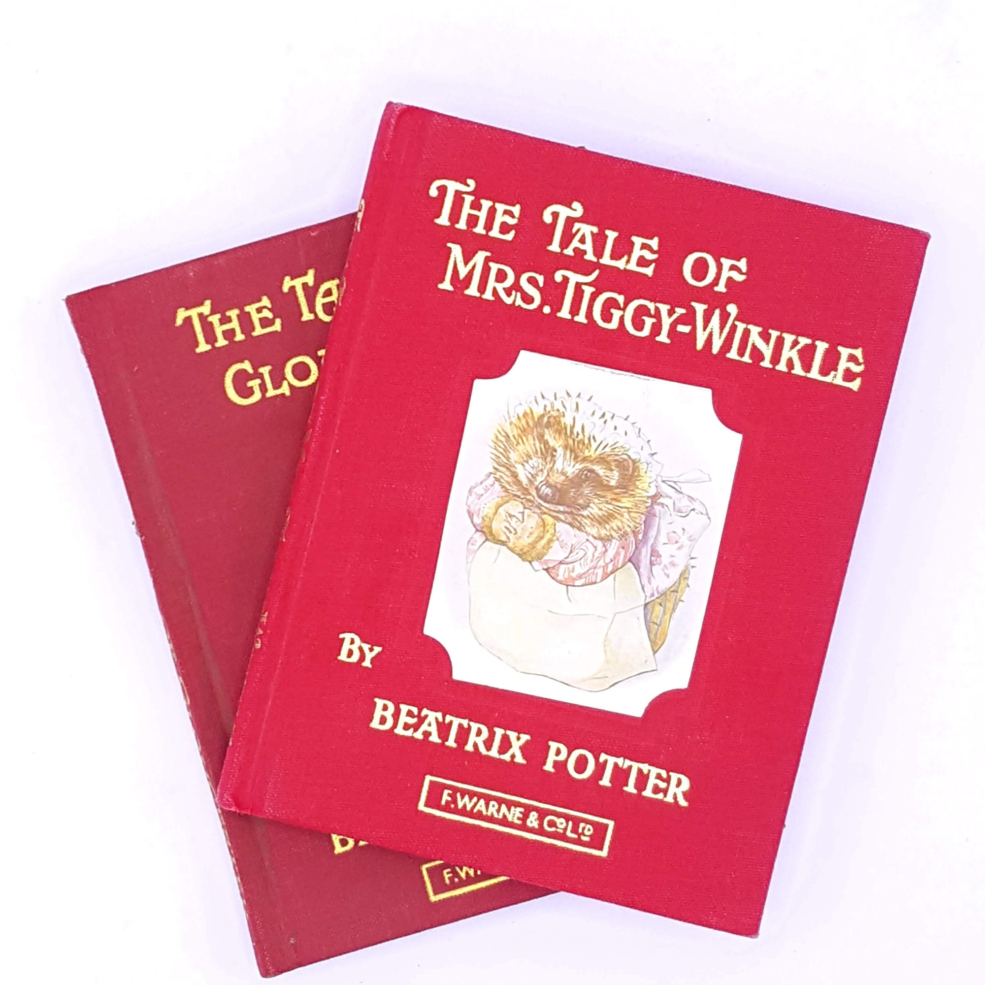 beatrix-potter-mrs-tiggy-winkle-gold-gilt-warne-collection-patterned-vintage-thrift-decorative-antique-old-tailor-of-gloucester-red-classic-books-country-house-library-red-