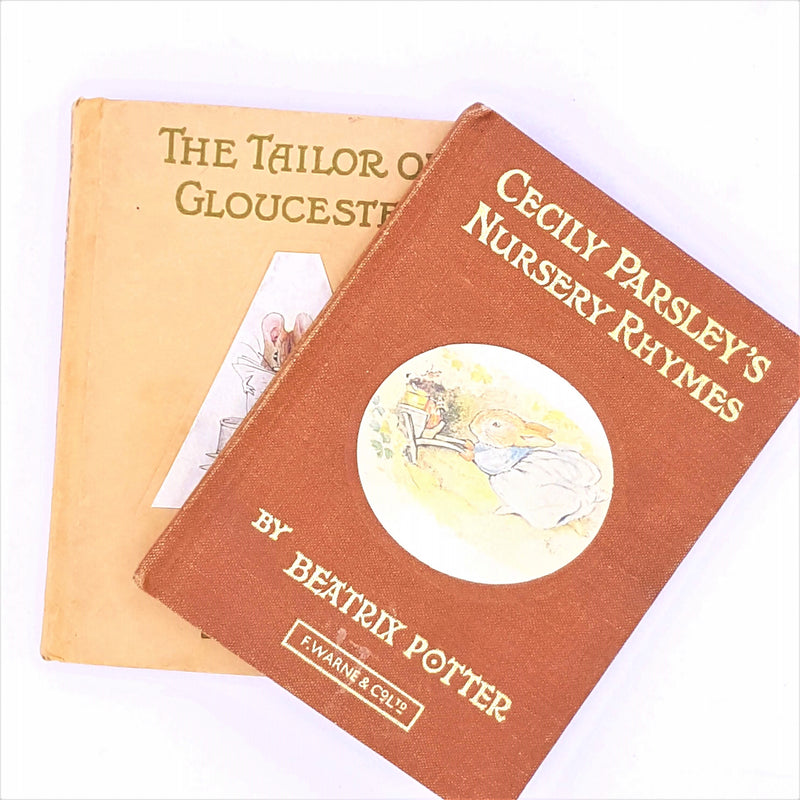 warne-vintage-beige-tailor-of-gloucester-brown-beatrix-potter-decorative-old-country-house-library-earth-tone-patterned-thrift-classic-collection-antique-books-cecily-parsleys-nursery-rhymes-