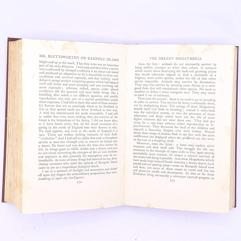 antique-old-decorative-country-house-library-thrift-vintage-patterned-H.G-Wells-Mr-Blettsworthy-on-Rampole-Island-classic-books-