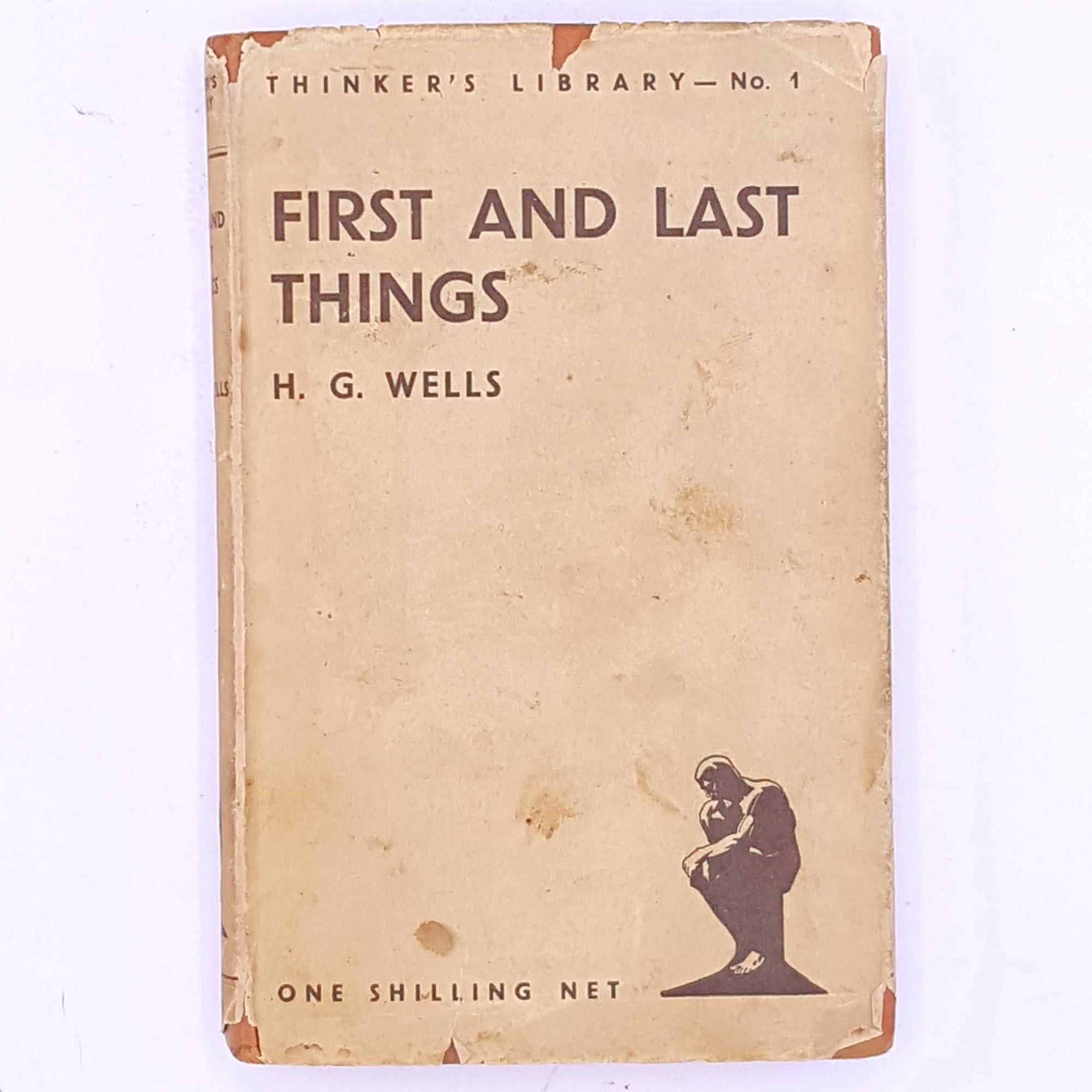 decorative-H.G.-Wells- thrift-science-fiction-First-and-Last-Things-country-house-library-classic-patterned-short-stories- antique-old-short-story-vintage-books-