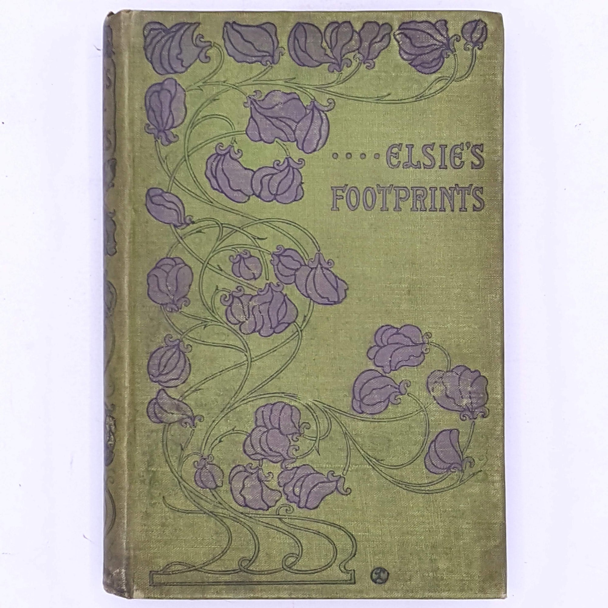 vintage-decorative-antique-thrift-country-house-library-books-classic-Elsie's-Footprints-By-Mrs-Lucas-Shadwell-1900-green-patterned-old-