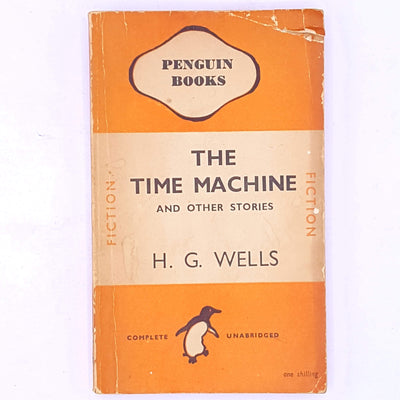 old-science-fiction-fantasy- country-house-library-books-thrift-decorative-patterned-hg-wells-classic-antique-the-time-machine-penguin-vintage-