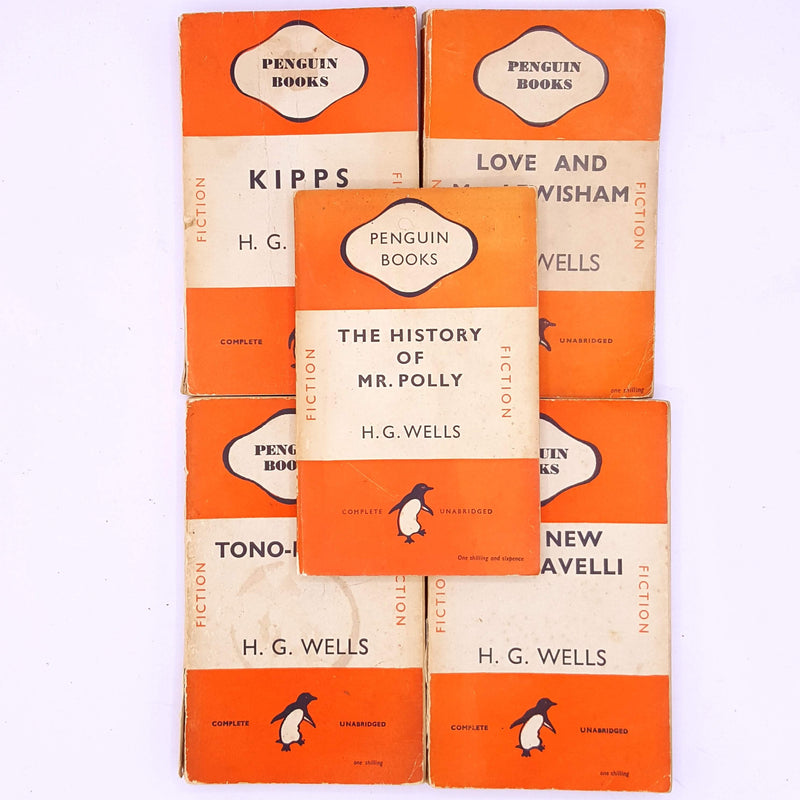 classic-patterned-books-vintage-decorative-penguin-hg-wells-antique-tono-bungay-old-kipps-love-and-mr-lewisham-the-history-of-mr-polly-the-new-machiavelii-science-fiction-thrift-fantasy-country-house-library-