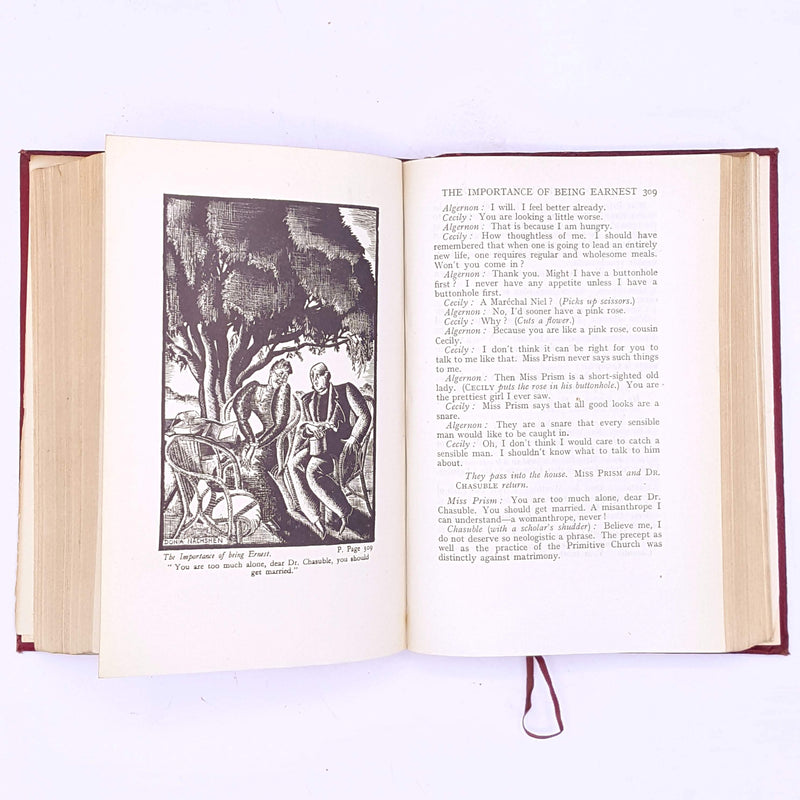 antique-old-books-the-works-of-oscar-wilde-thrift-dorian-grey-vintage-patterned-illustrated-lady-windermere-fan- decorative-country-house-library-classic-