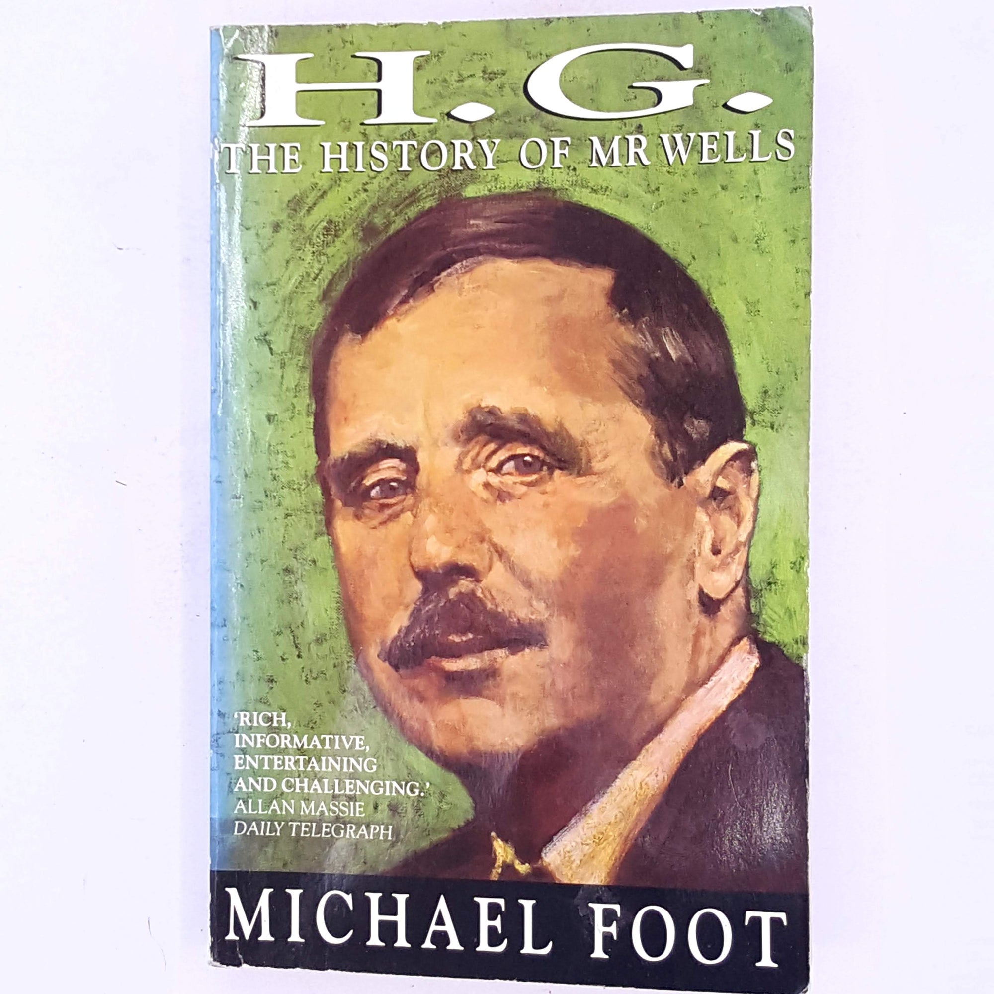 country-house-library-biography-H.G.-The-History-Of-Mr-Wells-Michael-Foot-classic-vintage-antique-old-books-thrift-decorative-patterned-
