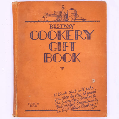 breakfast-lunch-dinner-treat-cakes-scones-vintage-cookery-foodie-patterned-thrift-country-house-library-decorative-classic-old-food-books-vintage-Bestway-Cookery-Gift-Book-antique-