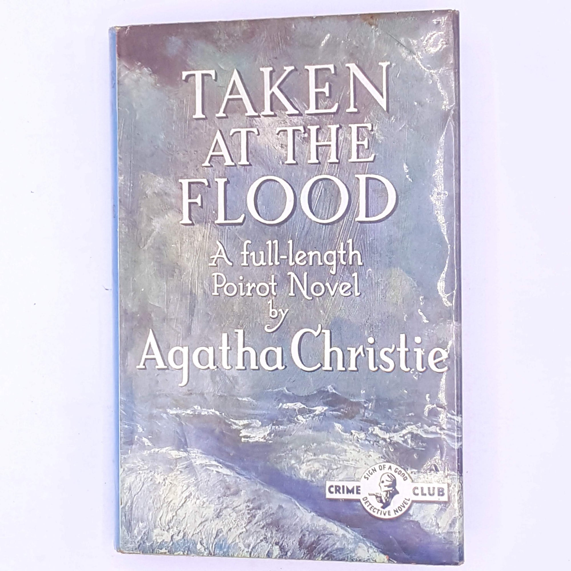 antique-old-Poirot-detective-mystery-murder-mystery-crime-fiction-novels-female-author-patterned-agatha-christie-taken-at-the-flood-thrift-decorative-vintage-country-house-library-books-classic-