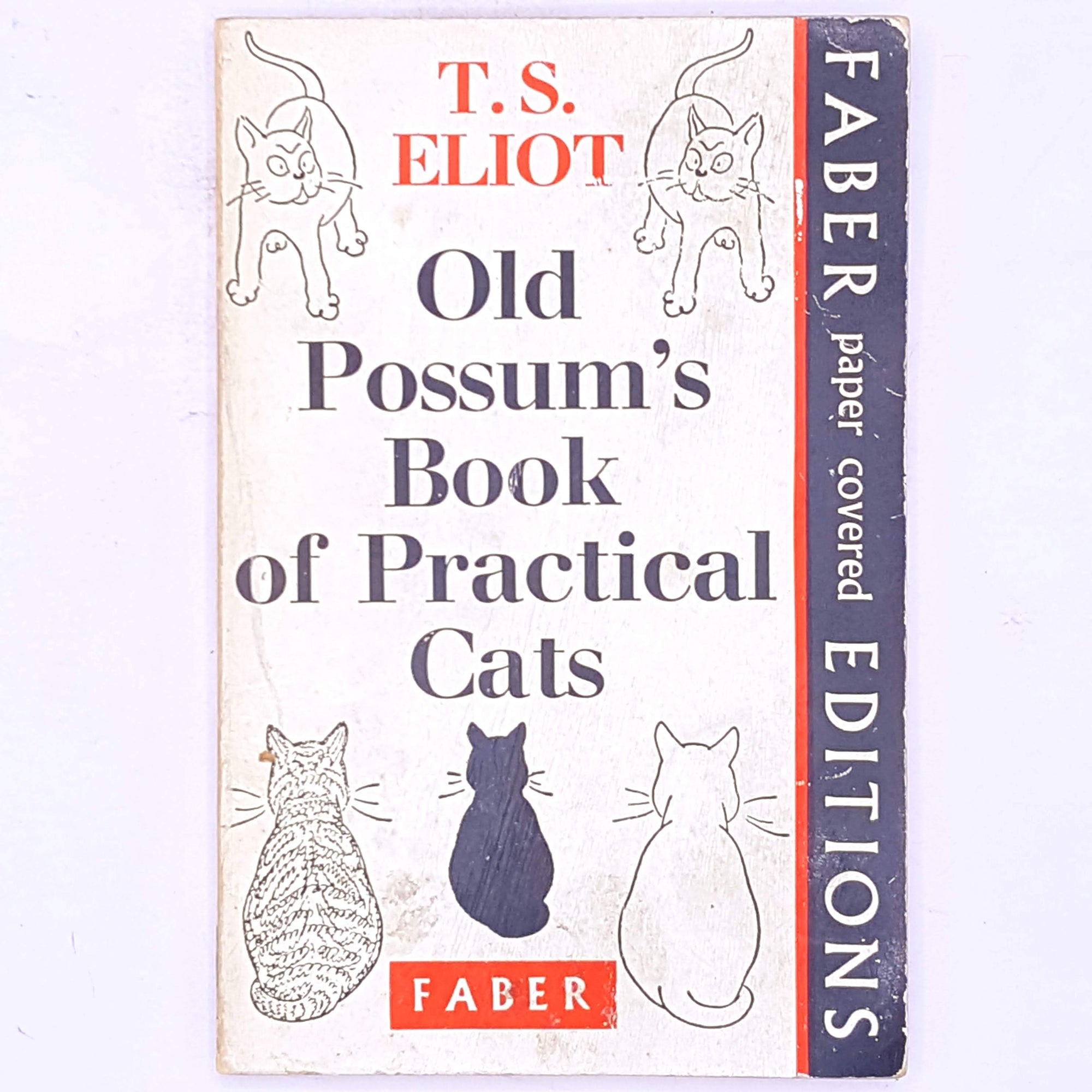 classic-old-possum's-book-of-practical-cats-faber-and-faber-vintage-decorative-country-house-library-books-antique-old-patterned-thrift-t.s.-eliot-cats-