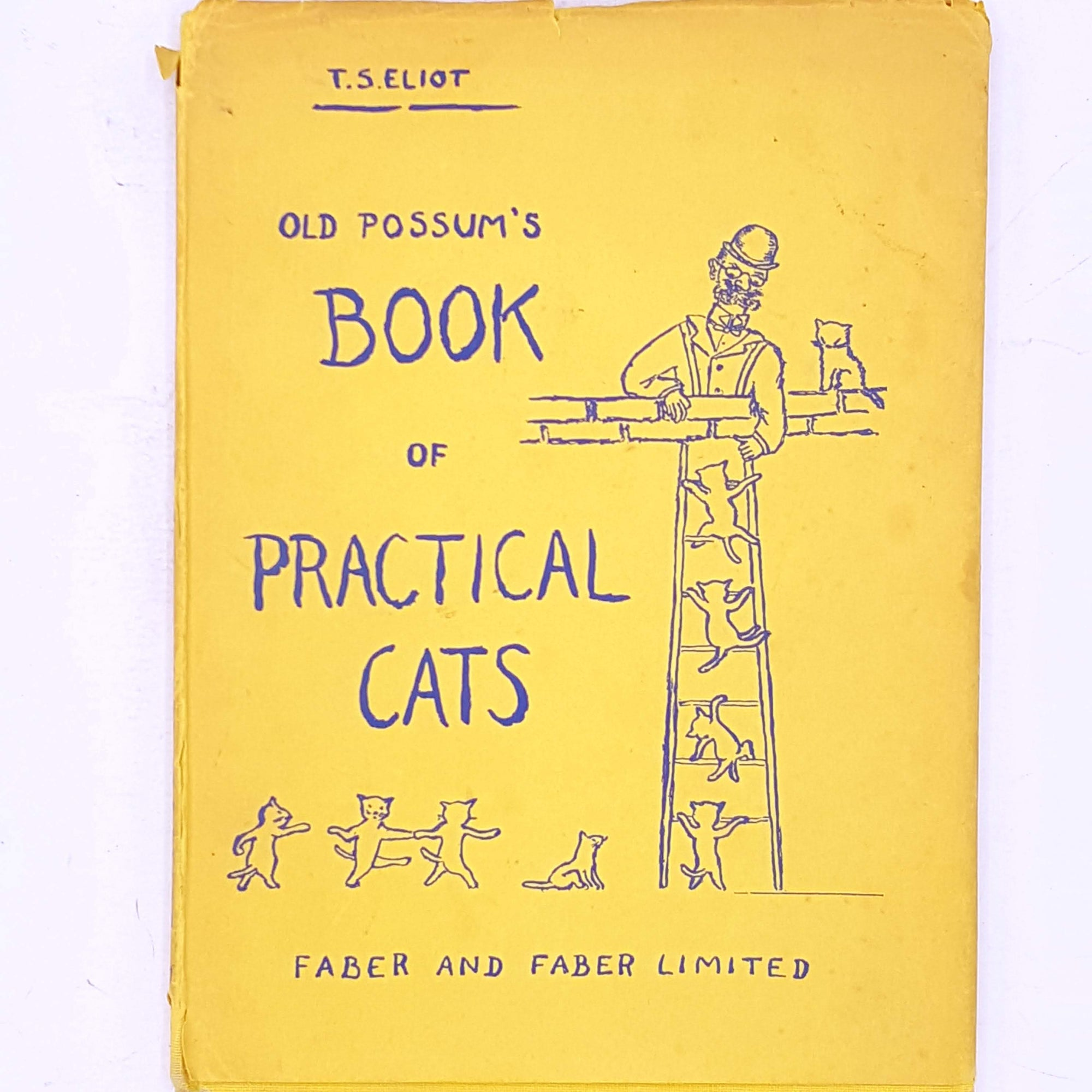 antique-patterned-thrift-books-t.s.-eliot-cats-country-house-library-vintage-old-possum's-book-of-practical-cats-faber-and-faber-poems-poetry-cats-old-classic-decorative-