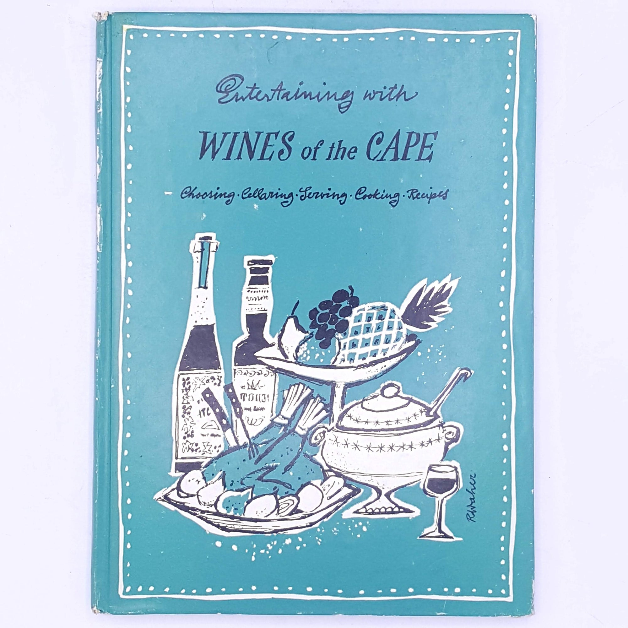 thrift-wines-alcohol- patterned-books-choosing-cellaring-serving-cooking-recipes-old-decorative-classic-vintage-wines-of-the-cape-country-house-library-antique-