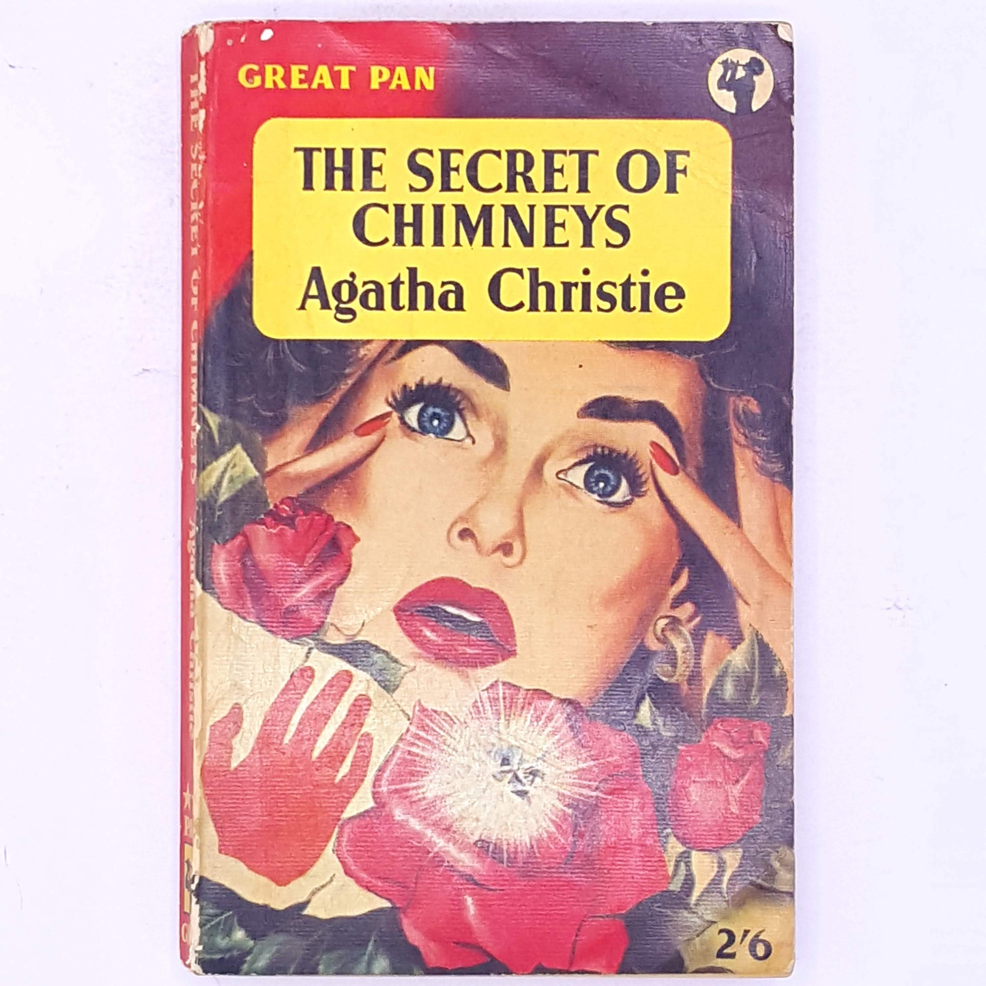 old-country-house-library-thrift-Poirot-the-secret-of-chimney-antique-female-author-fiction-detective-stories-mystery- vintage-books-classic-agatha-christie-detective-crime-patterned-decorative-