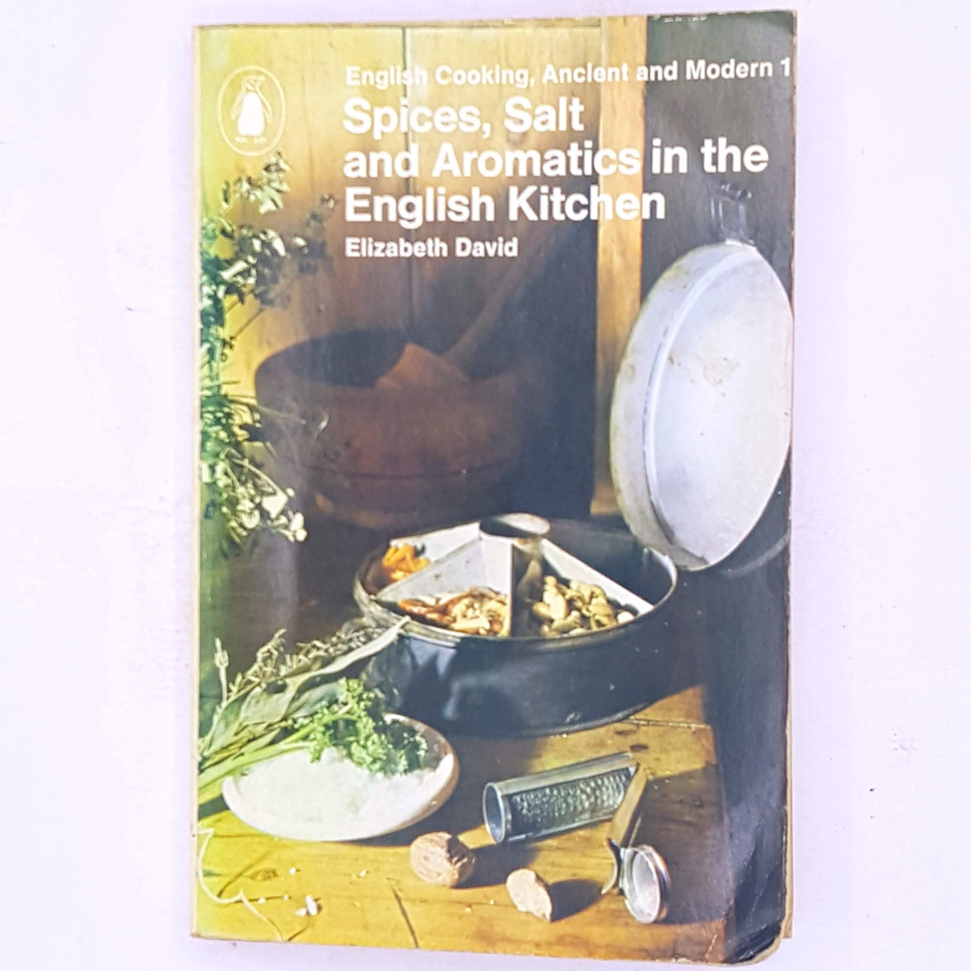 cooking-baking-A-Penguin-Handbook-English-Cooking-Ancient-&-Modern-1-Spices-Salt-and-Aromatics-in-the-English-Kitchen-by-Elizabeth-David-patterned-antique-food-ingredients- decorative-country-house-library-books-sweet-savoury-dishes- classic-cookbook-recipe-book-baking-book-old-for-foodies-food-breakfast-lunch-dinner-thrift-vintage-