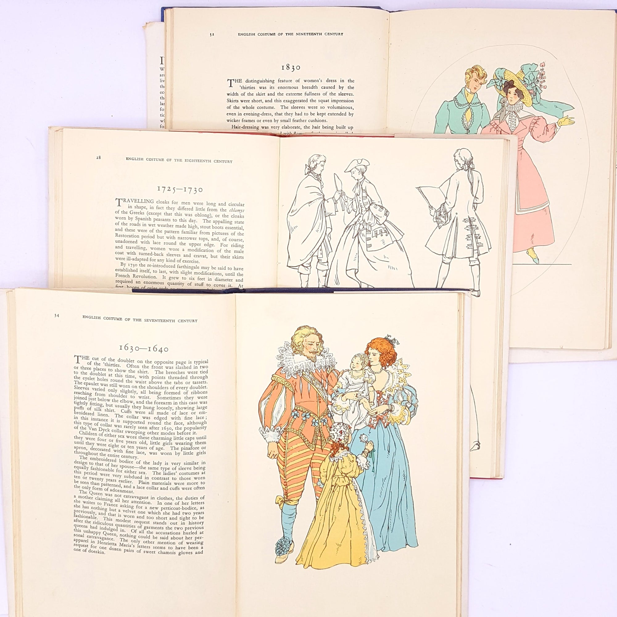 illustrated-fashion-historical-old-thrift-english-costume-of-the-seventeenth-eighteenth-nineteenth-century-patterned-classic-vintage-decorative-antique-country-house-library-books-