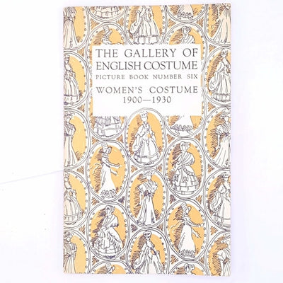 vintage-thrift-fashion-illustrated-clothing-old-classic-the-gallery-of-English-costume-picture-book-number-six-women's-costume-1900-1930-decorative-country-house-library-books-antique-patterned-