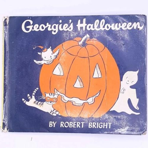 books-classic-old-thrift-vintage-children's-book-halloween-georgies-halloween-by-robert-bright-cat-ghost-owl-decorative-patterned-antique-country-house-library-