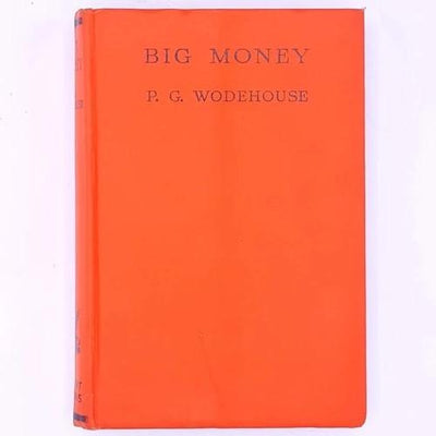 antique-old-P.G.-Wodehouse-patterned-thrift-vintage-big-money-orange-decorative-country-house-library-classic-books-