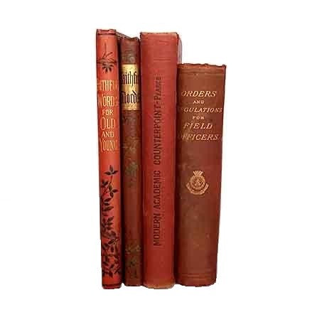Red Decorative Vintage Four Book Collection
