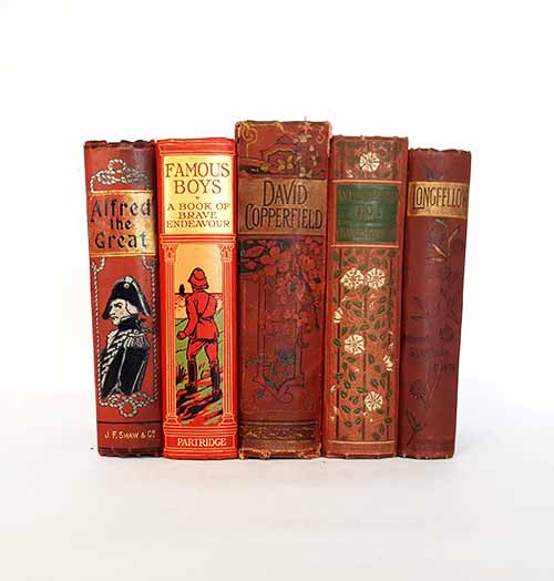 Red Vintage Antique Five Book Collection