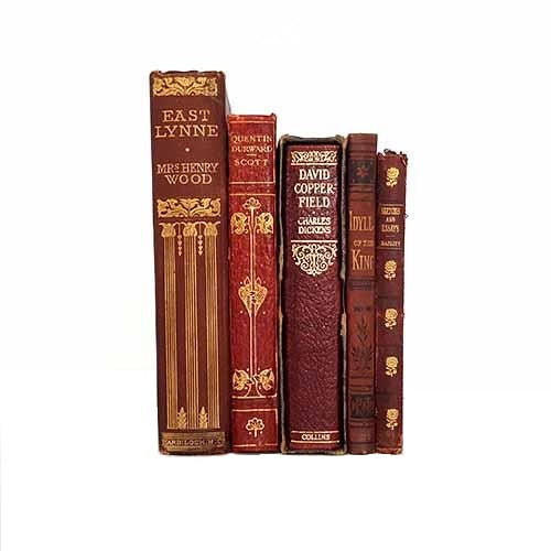 Vintage Red Five Book Antique Collection