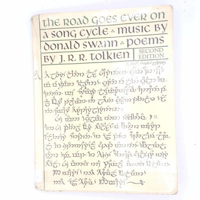 thrift-december-gifts-presents-christmas-gifts-the-road-goes-ever-on-a-song-cycle-music-by-donald-swann-poems-by-J.R.R.-tolkien-music-folklore-fantasy-festive-christmas-books-old-vintage-antique-xmas-decorative-classic-patterned-country-house-library-