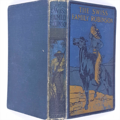 thrift-swiss-family-robinson-collins-classic-antique-country-house-library-books-old-reading-1916-blue-patterned-vintage-decorative-