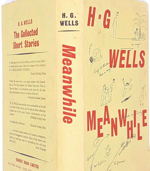 patterned-comedy-fiction-christmas-h-g-wells-books-old-1962-vintage-thrift-meanwhile-country-house-library-decorative-antique-classic-beige-