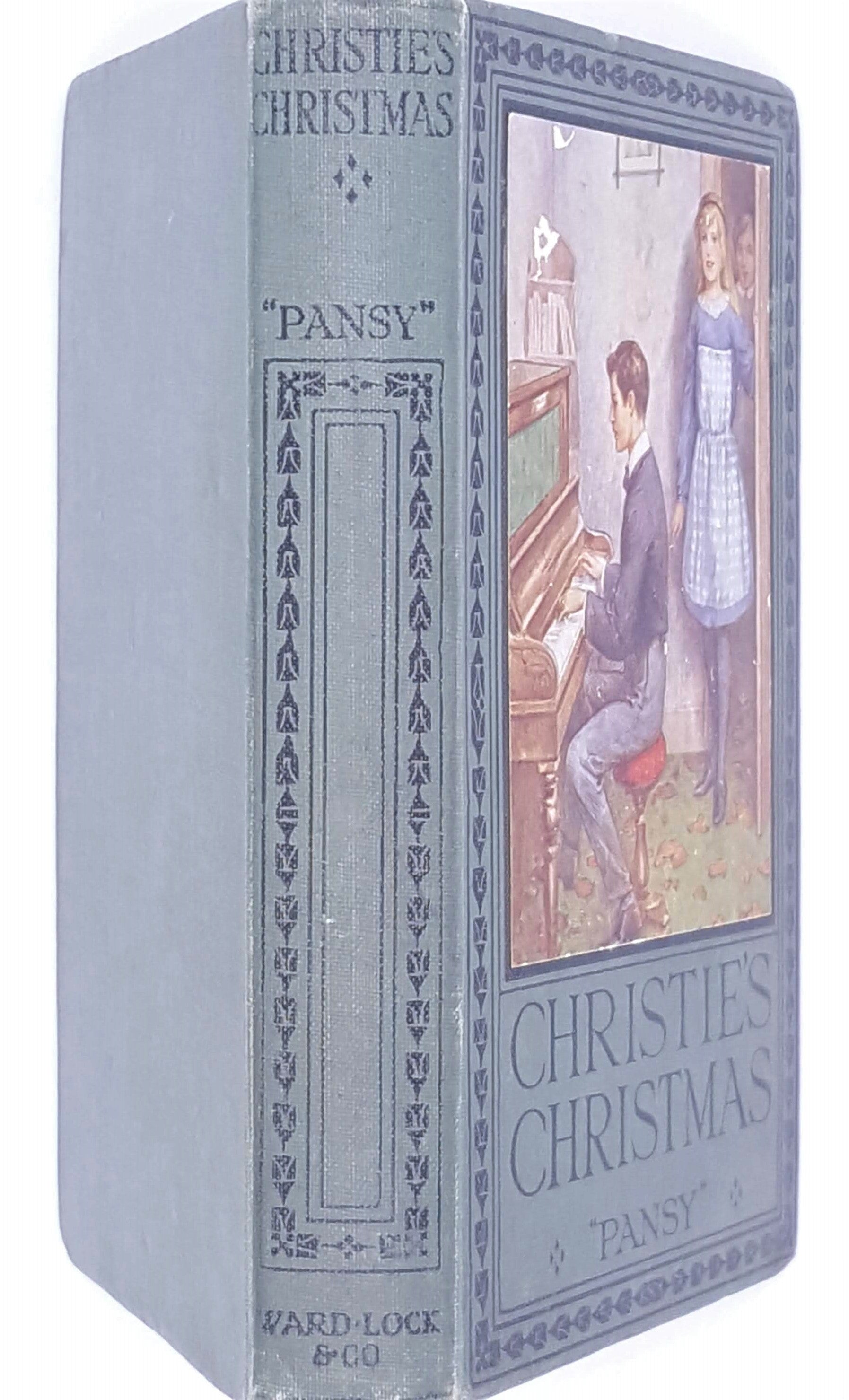 thrift-country-house-library-1925-decorative-christies-christmas-pansy-patterned-vintage-books-christmas-old-antique-ward-lock-and-co-childrens-classic-