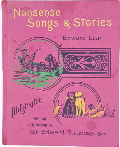 decorative-poetry-thrift-owl-and-the-pussy-cat-illustrated-pink-nonsense-songs-and-stories-country-house-library-books-classic-vintage-edward-lear-antique-wit-old-patterned-
