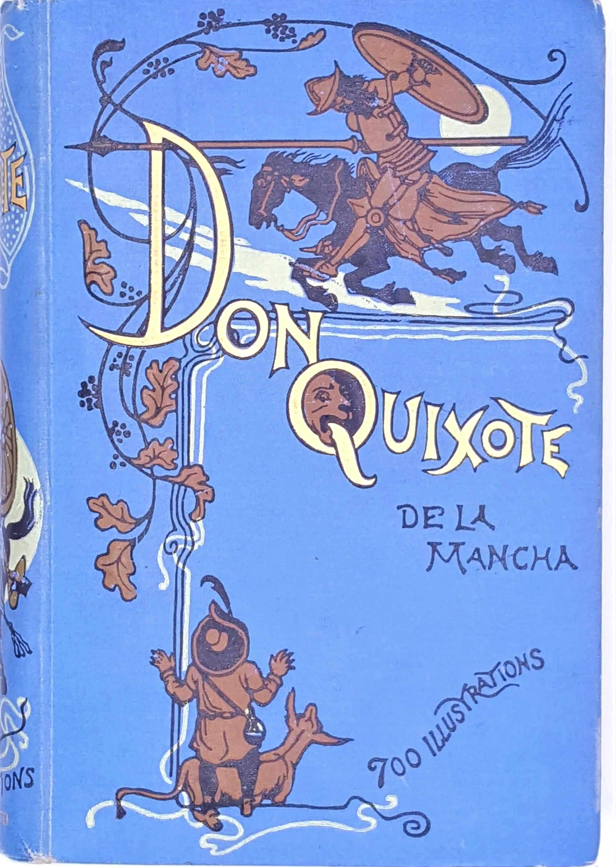 classic-thrift-patterned-don-quixote-1898-illustrated-antique-vintage-cervantes-books-country-house-library-blue-old-decorative-