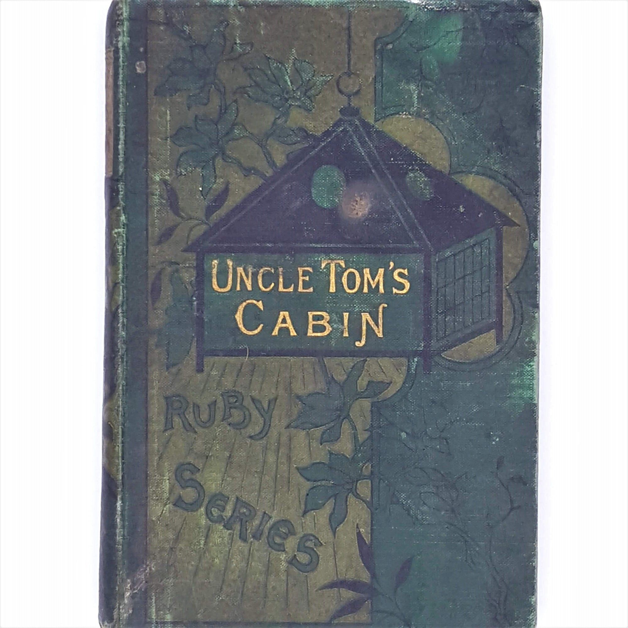 green-george-routlidge-and-sons-uncle-toms-cabin-country-house-library-antique-decorative-london-old-ruby-series-thrift-gold-gilt-books-patterned-1888-harriet-beecher-stowe-vintage-classic-