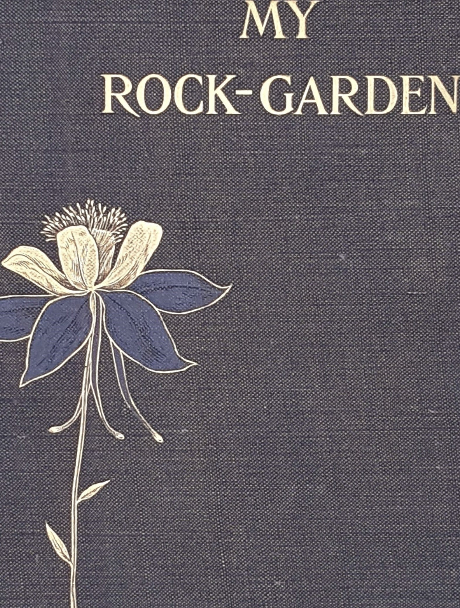 old-reference-decorative-classic-nature-thrift-black-my-rock-garden-patterned-reginald-farrer-plants-edward-anold-1908-books-antique-vintage-country-house-library-