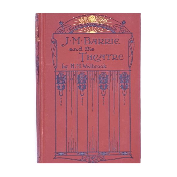 1922-earth-tone-country-house-library-thrift-biography-f-v-white-and-co-h-m-walbrook-classic-j-m-barrie-and-the-theatre-books-old-antique-vintage-patterned-brown-decorative-