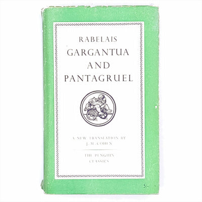 1955-decorative-thrift-books-penguin-Classic-old-vintage-country-house-library-green-gargantua-and-pantagruel-rabelais-antique-Patterned-philosophy-