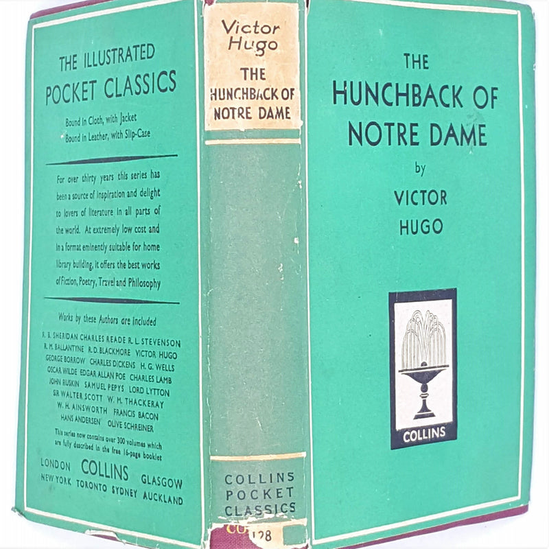 vintage-the-hunchback-of-notre-dame-patterned-old-decorative-pocket-collins-country-house-library-dust-jacket-victor-hugo-green-thrift-classic-books-antique-