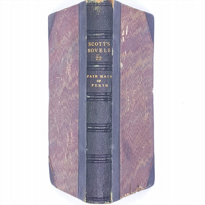 thrift-sir-walter-scott-adam-and-charles-black-classic-vintage-country-house-library-books-fair-maid-of-perth-antique-marbled-decorative-patterned-scotts-novels-green-1863-old-