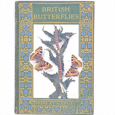 old-british-butterflies-decorative-thrift-classic-country-house-ibrary-charles-a-hall-nature-illustrated-vintage-patterned-books-green-antique-