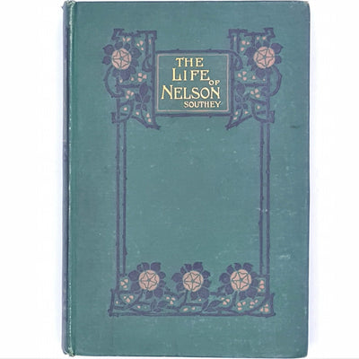country-house-library-thrift-green-classic-books-robert-southey-patterned-vintage-old-decorative-blackie-life-of-nelson-antique-