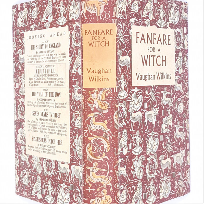 old-1954-country-house-library-vaughan-wilkins-classic-geometric-history-vintage-historical-fiction-antique-patterned-thrift-brown-decorative-fanfare-for-a-witch-books-reprint-society-