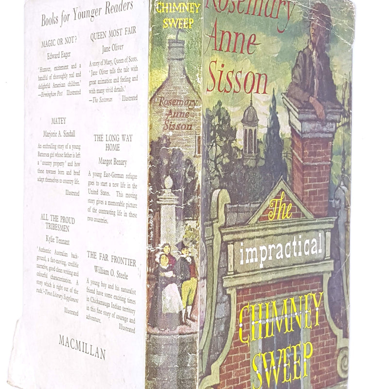 old-thrift-the-impractical-chimney-sweep-country-house-library-decorative-green-patterned-1965-classic-rosemary-anne-sisson-macmillan-vintage-childrens-antique-books-